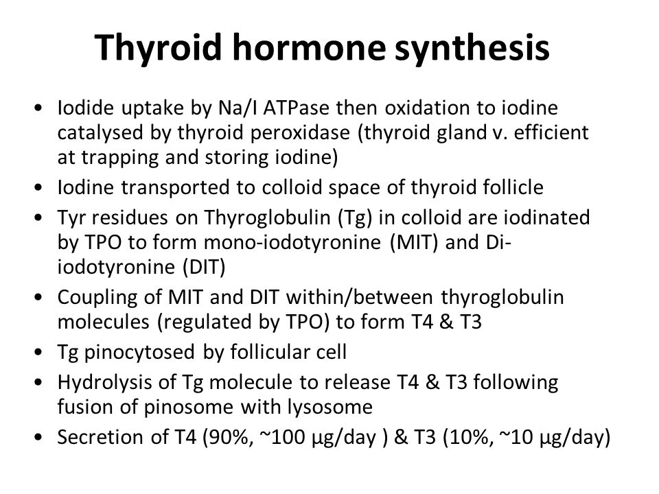 Treatment of thyrotoxic storm Reduce thyroid hormone synthesis & secretion: –Carbimazole/Propylthiouracil –Lithium –Inorganic iodide (Wolff- Chaikoff effect: high dose iodine shuts down thyroid hormone synthesis) Inhibit conversion of T4 to T3 –Propylthiouracil –Glucocorticoids Supportive treatment –Beta blockers –External cooling –Fluid balance Treat precipitating cause e.g.