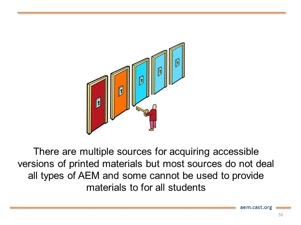 aem.cast.org There are multiple sources for acquiring accessible versions of printed materials but most sources do not deal all types of AEM and some