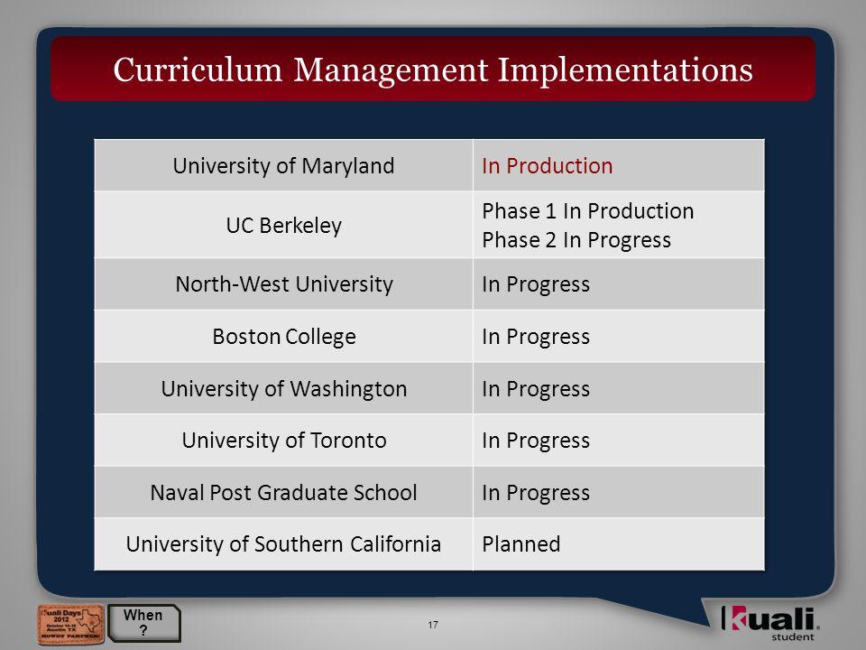 17 Curriculum Management Implementations When