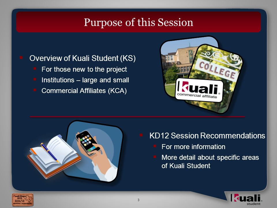 3  Overview of Kuali Student (KS)  For those new to the project  Institutions – large and small  Commercial Affiliates (KCA)  KD12 Session Recommendations  For more information  More detail about specific areas of Kuali Student Purpose of this Session