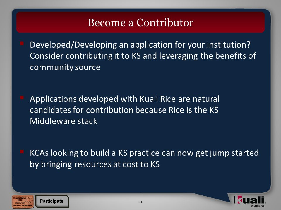 31  Developed/Developing an application for your institution.
