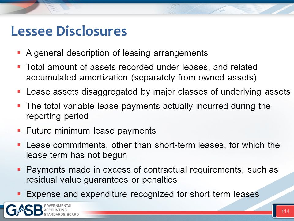 Lessee Disclosures  A general description of leasing arrangements  Total amount of assets recorded under leases, and related accumulated amortizatio