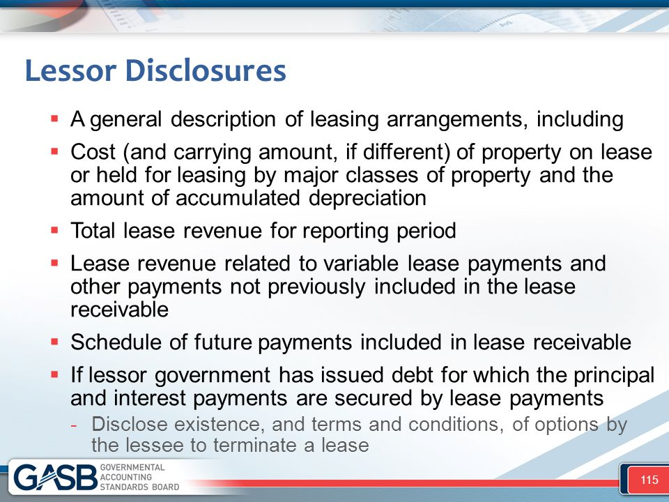 Lessor Disclosures  A general description of leasing arrangements, including  Cost (and carrying amount, if different) of property on lease or held