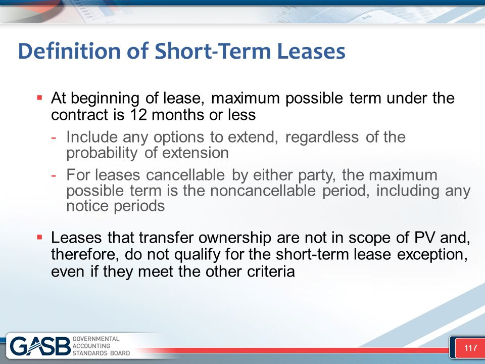 Definition of Short-Term Leases  At beginning of lease, maximum possible term under the contract is 12 months or less -Include any options to extend,