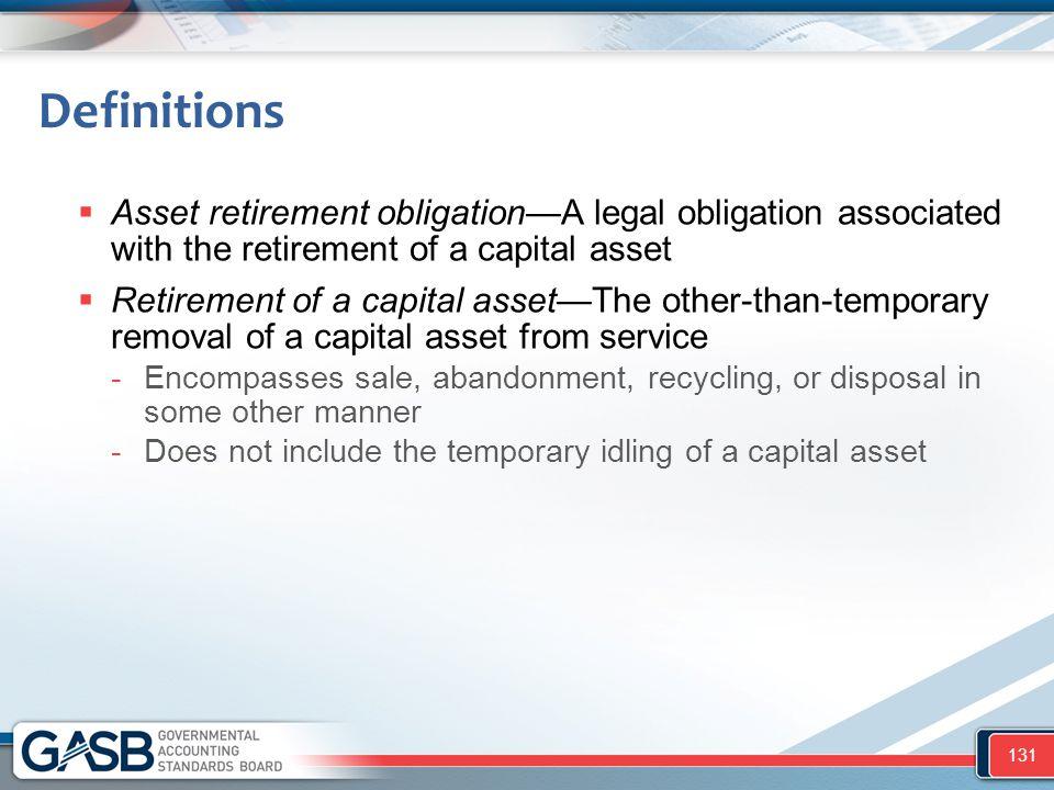 Definitions  Asset retirement obligation—A legal obligation associated with the retirement of a capital asset  Retirement of a capital asset—The oth
