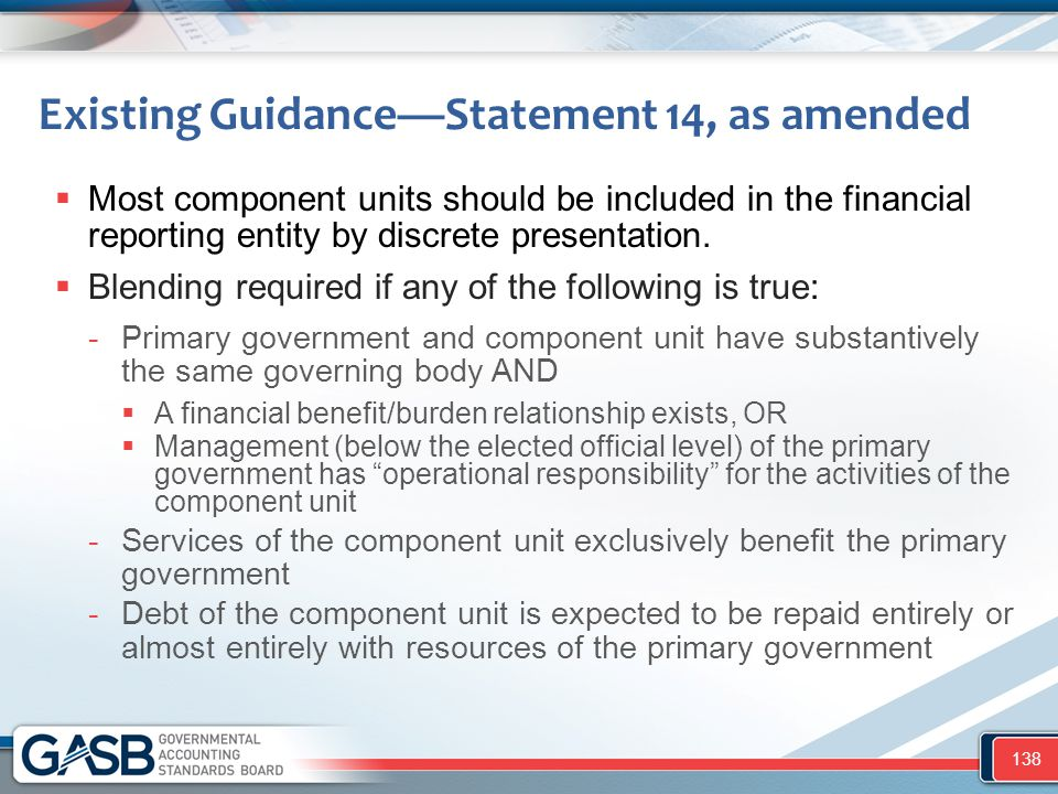 Existing Guidance—Statement 14, as amended  Most component units should be included in the financial reporting entity by discrete presentation.  Ble
