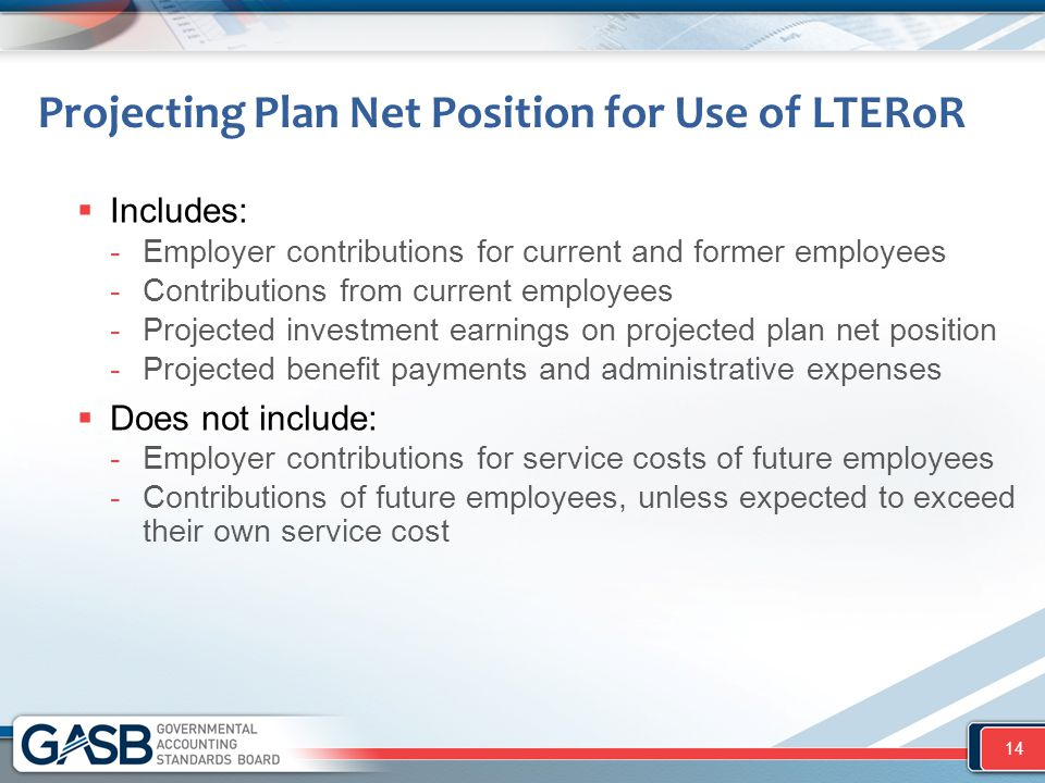 Projecting Plan Net Position for Use of LTERoR  Includes: -Employer contributions for current and former employees -Contributions from current employ