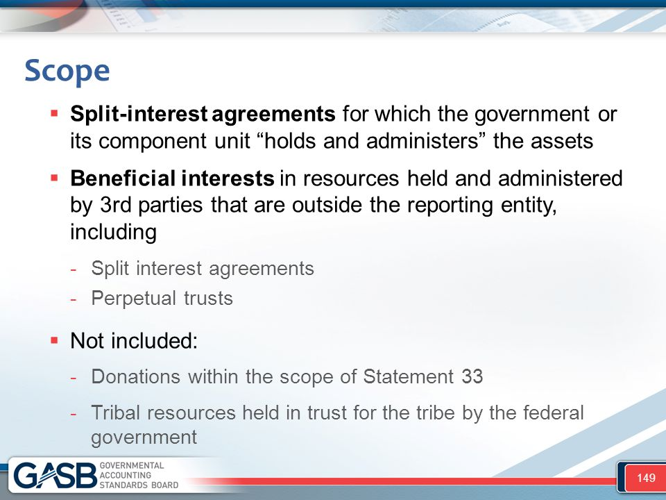 """Scope  Split-interest agreements for which the government or its component unit """"holds and administers"""" the assets  Beneficial interests in resource"""