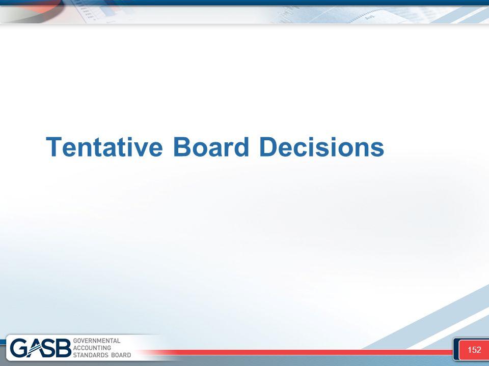 Tentative Board Decisions 152