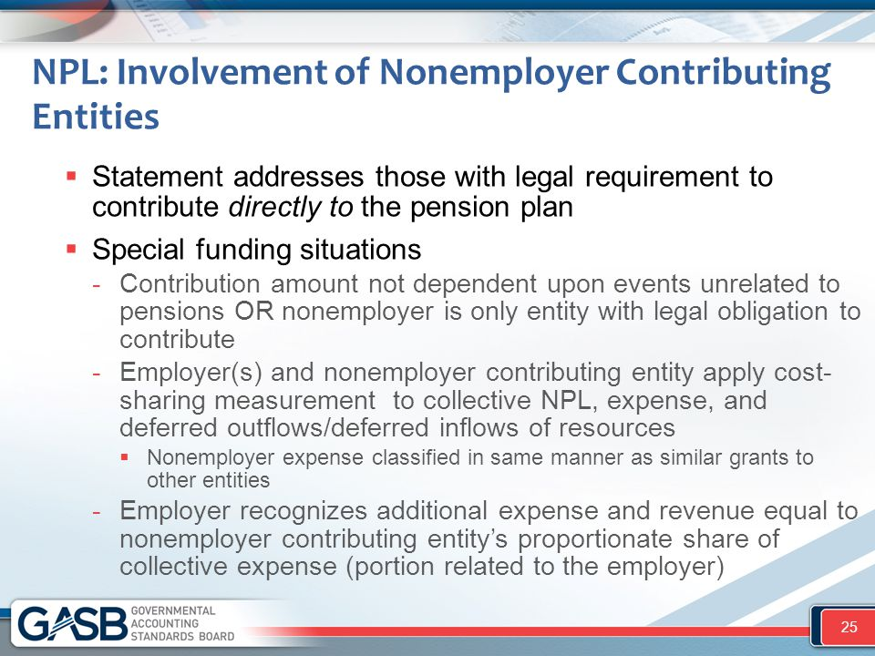 NPL: Involvement of Nonemployer Contributing Entities  Statement addresses those with legal requirement to contribute directly to the pension plan 