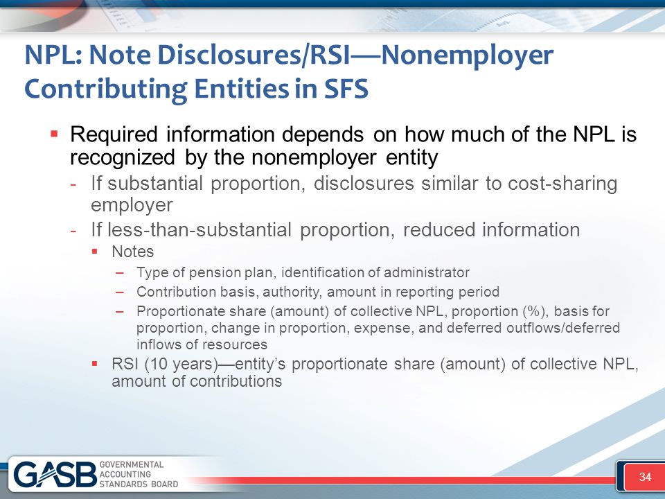 NPL: Note Disclosures/RSI—Nonemployer Contributing Entities in SFS  Required information depends on how much of the NPL is recognized by the nonemplo
