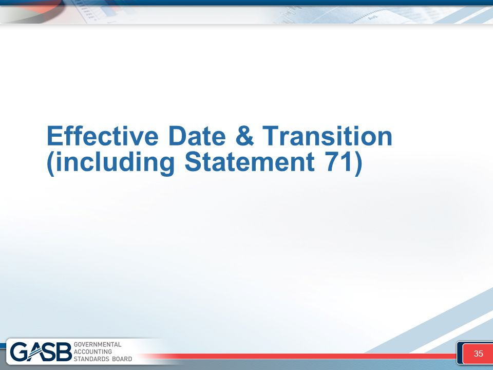 Effective Date & Transition (including Statement 71) 35