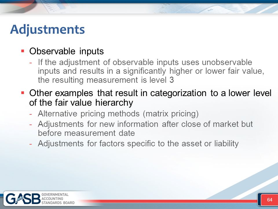  Observable inputs -If the adjustment of observable inputs uses unobservable inputs and results in a significantly higher or lower fair value, the re