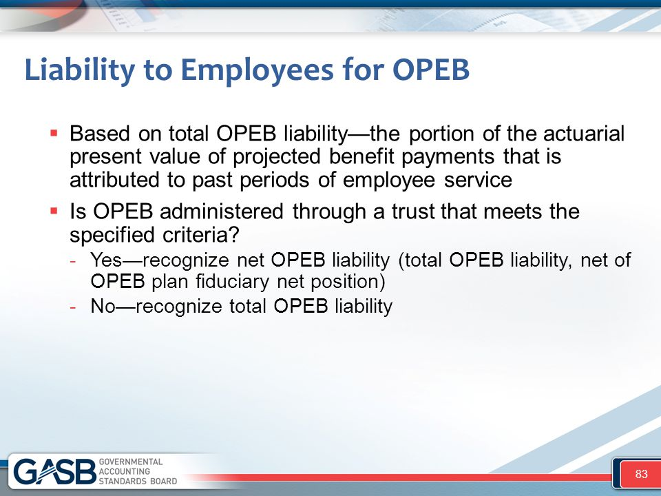 Liability to Employees for OPEB  Based on total OPEB liability—the portion of the actuarial present value of projected benefit payments that is attri