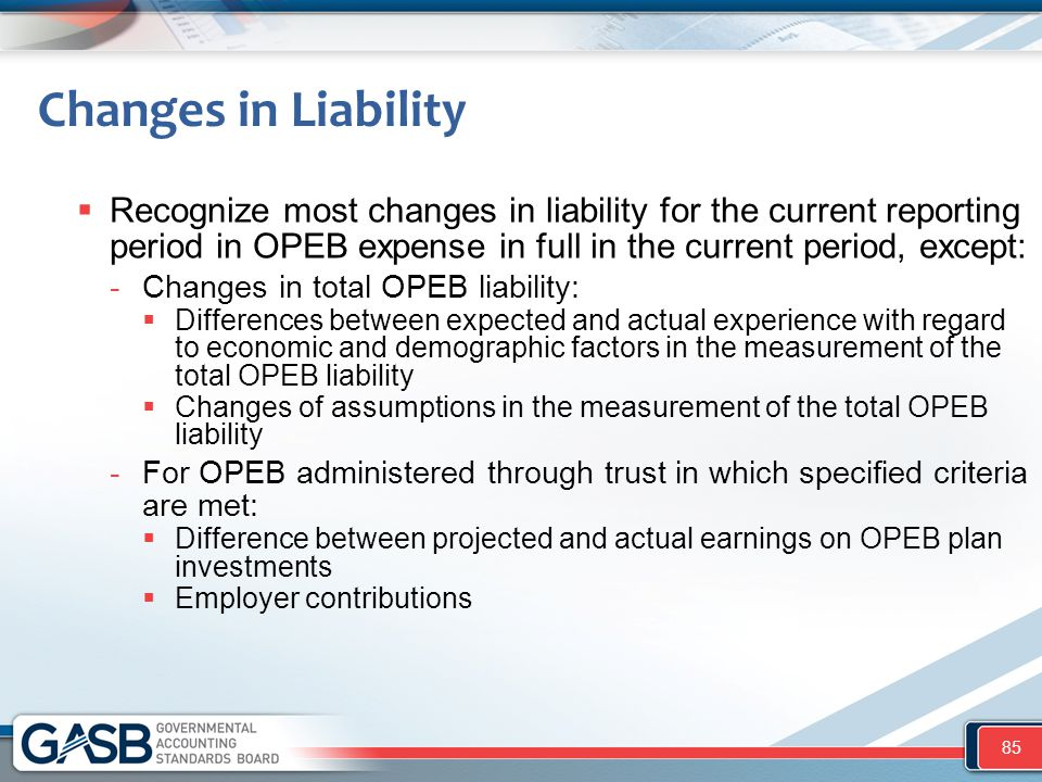 Changes in Liability  Recognize most changes in liability for the current reporting period in OPEB expense in full in the current period, except: -Ch