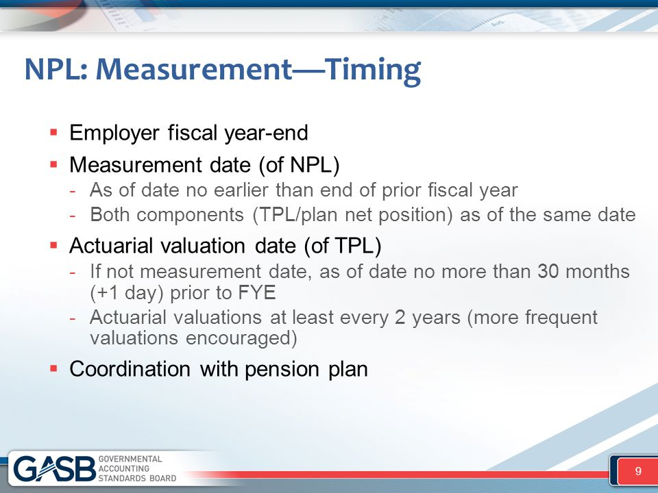 Timing—Examples  If employer FYE 6/30/2015 -Measurement date (NPL) no earlier than 6/30/2014 (prior fiscal year-end) -Actuarial valuation date (TPL) no earlier than 12/31/2012 (30 months + 1 day prior to fiscal year-end)  If employer FYE 12/31/2015 -Measurement date (NPL) no earlier than 12/31/2014 (prior fiscal year-end) -Actuarial valuation date (TPL) no earlier than 6/30/2013 (30 months + 1 day prior to fiscal year-end) 10