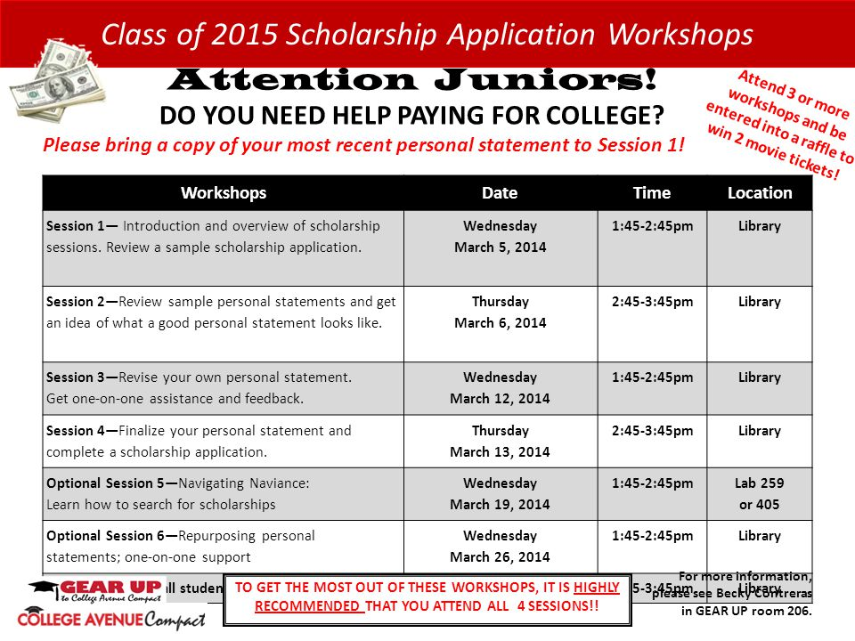 WorkshopsDateTimeLocation Session 1— Introduction and overview of scholarship sessions.
