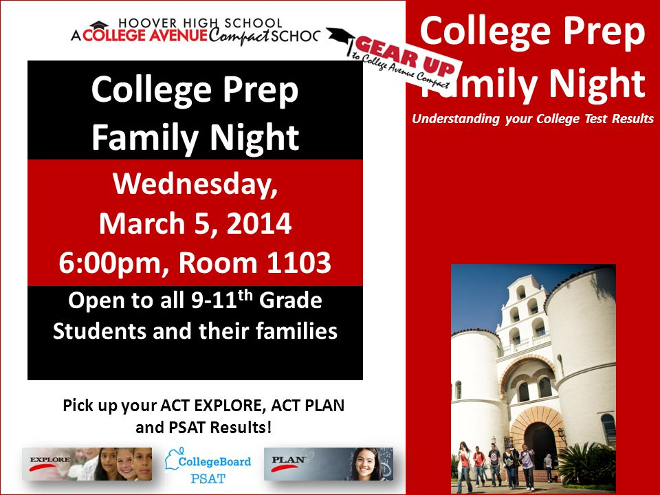 College Prep Family Night Understanding your College Test Results Open to all 9-11 th Grade Students and their families College Prep Family Night Wedn