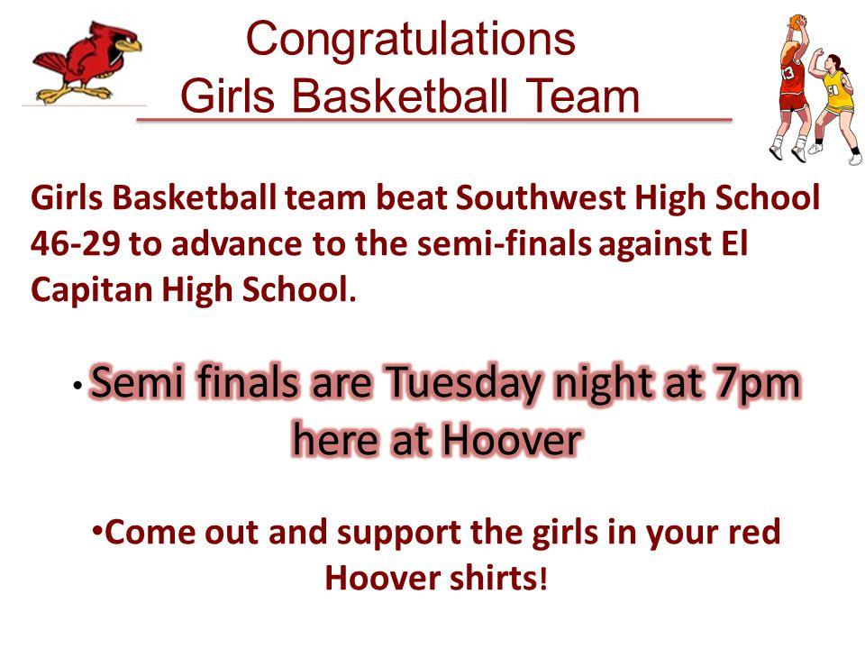 Congratulations Girls Basketball Team