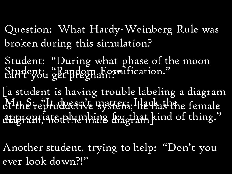 Question: What Hardy-Weinberg Rule was broken during this simulation.