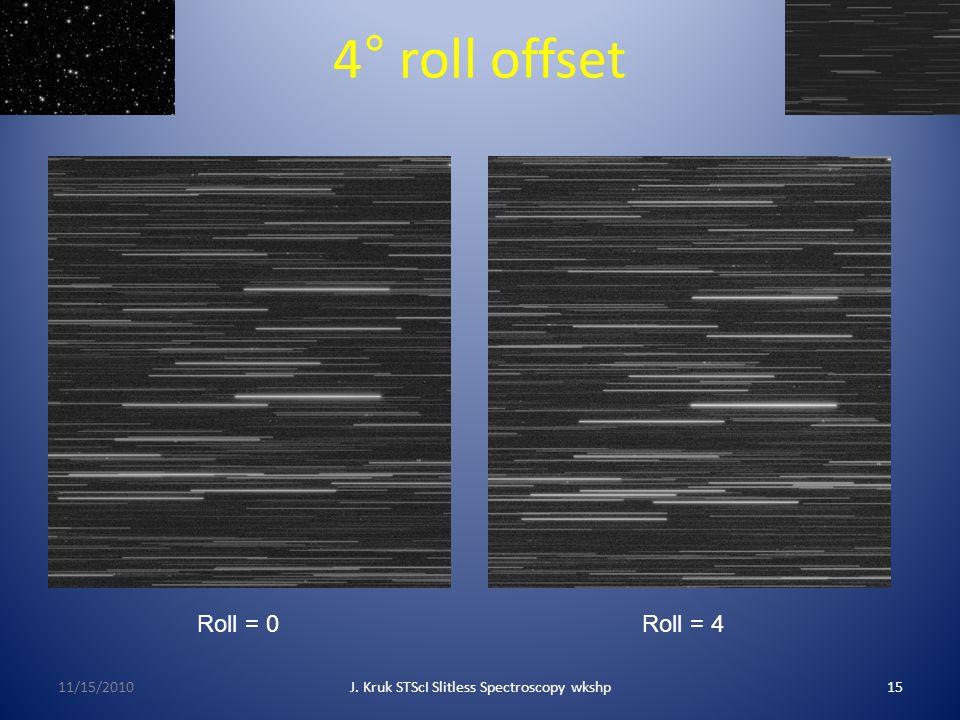 4° roll offset 11/15/2010J. Kruk STScI Slitless Spectroscopy wkshp15 Roll = 0Roll = 4