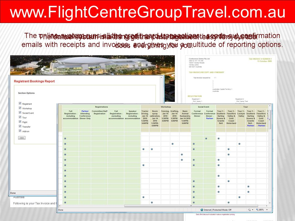 www.FlightCentreGroupTravel.com.au The online system makes registrant management easy for you, too.