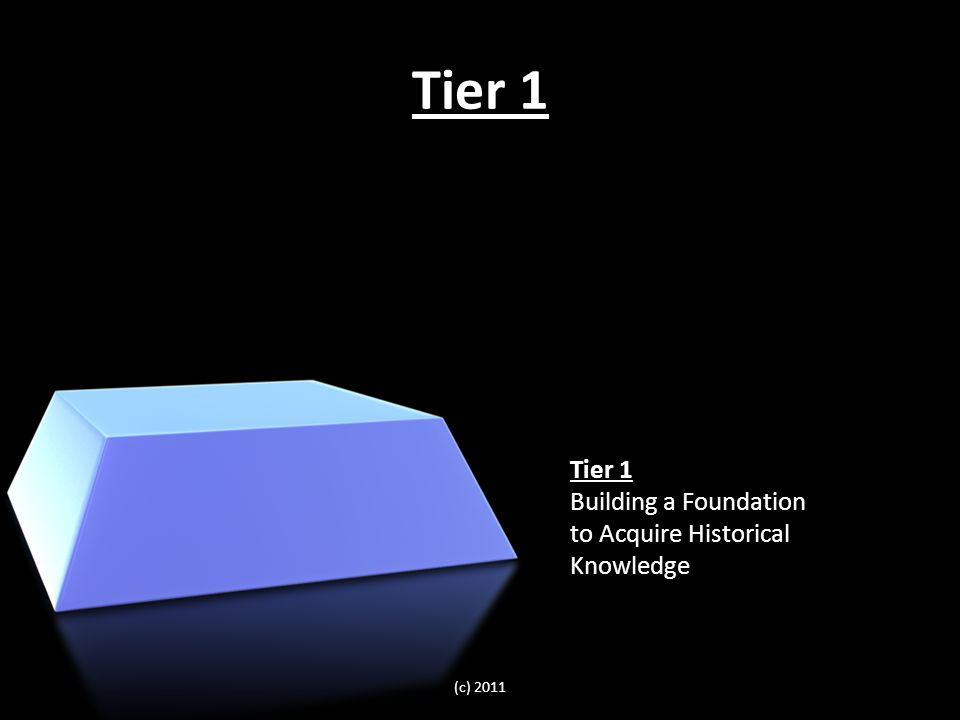 Tier 1 Building a Foundation to Acquire Historical Knowledge (c) 2011