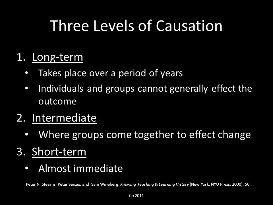Three Levels of Causation 1.Long-term Takes place over a period of years Individuals and groups cannot generally effect the outcome 2.Intermediate Where groups come together to effect change 3.Short-term Almost immediate Peter N.