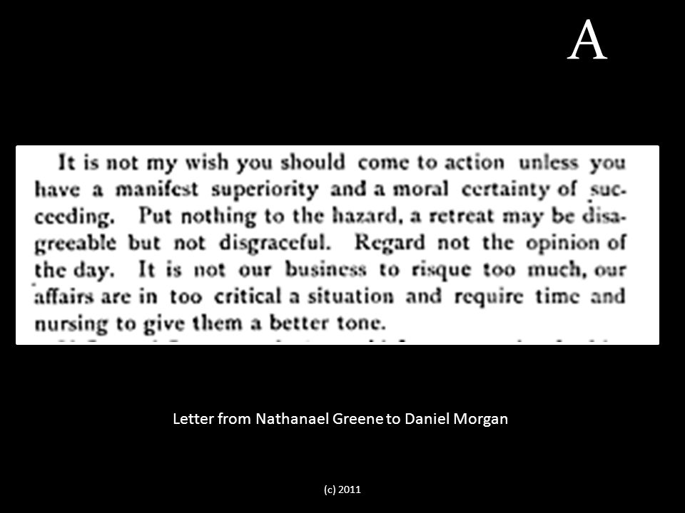 Letter from Nathanael Greene to Daniel Morgan A (c) 2011