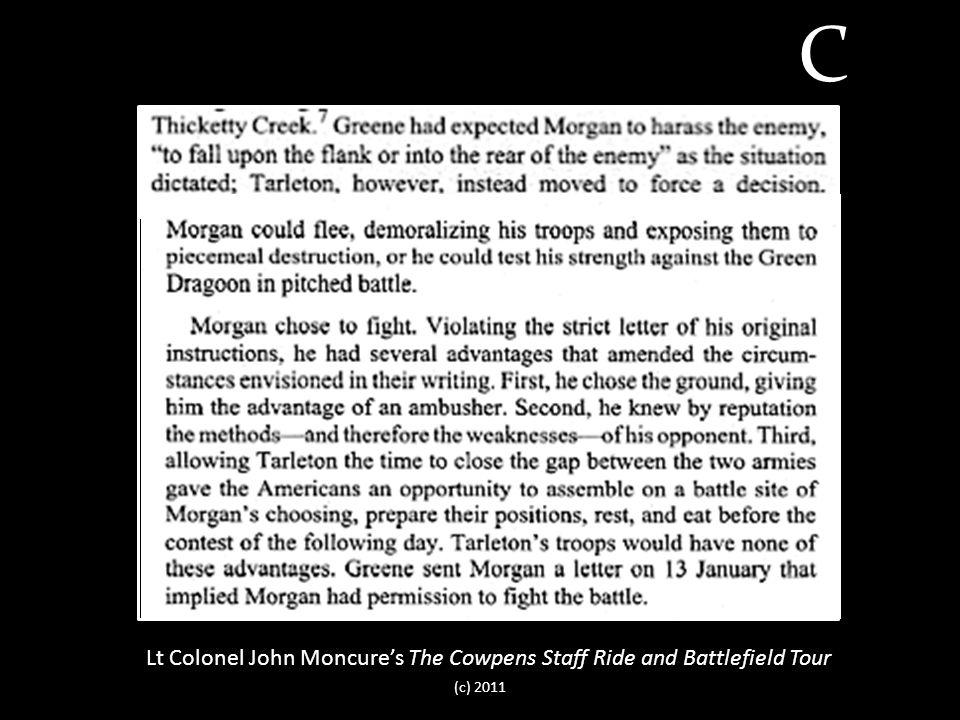 Lt Colonel John Moncure's The Cowpens Staff Ride and Battlefield Tour C (c) 2011