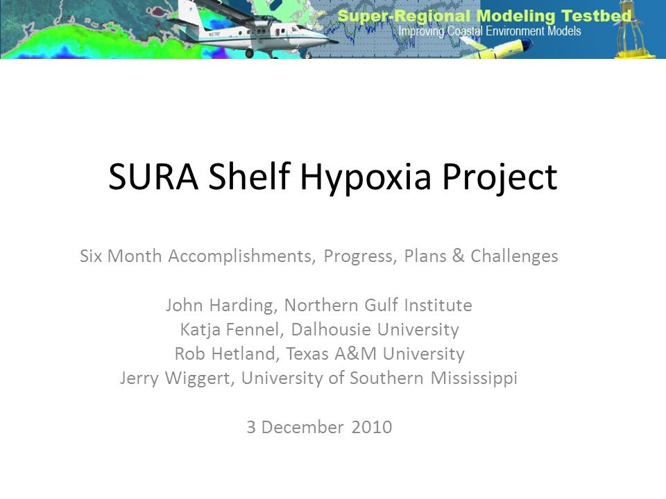 SURA Shelf Hypoxia Project Six Month Accomplishments, Progress, Plans & Challenges John Harding, Northern Gulf Institute Katja Fennel, Dalhousie University Rob Hetland, Texas A&M University Jerry Wiggert, University of Southern Mississippi 3 December 2010