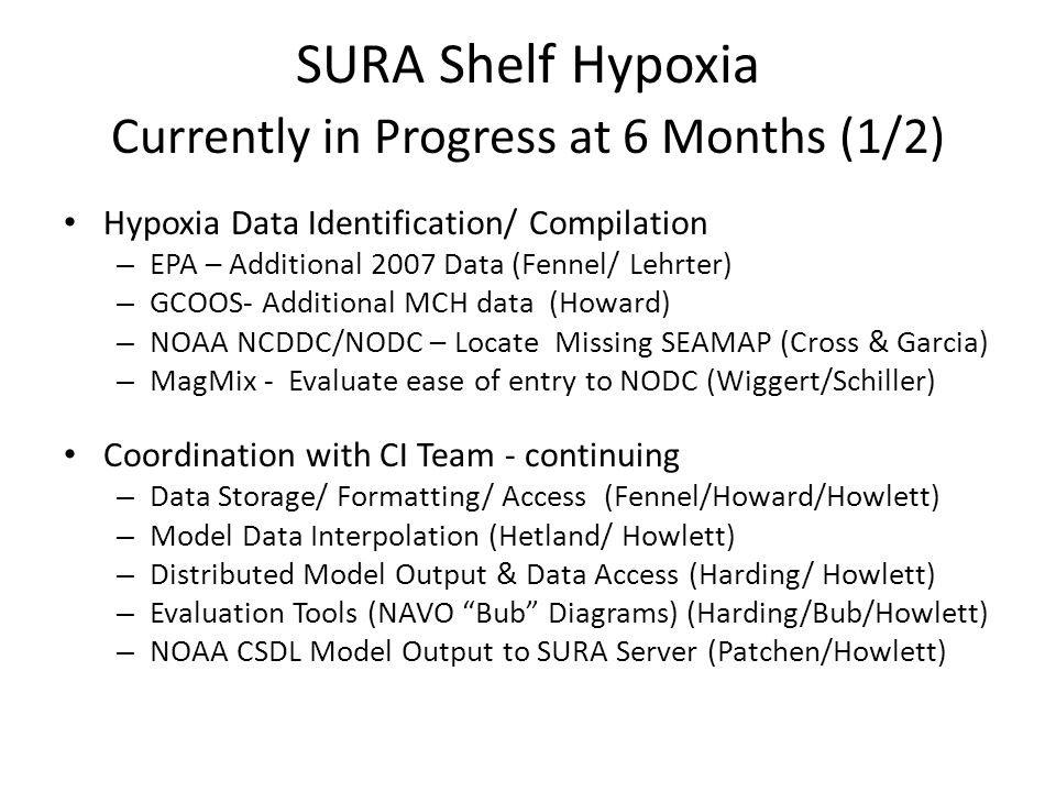SURA Shelf Hypoxia Currently in Progress at 6 Months (1/2) Hypoxia Data Identification/ Compilation – EPA – Additional 2007 Data (Fennel/ Lehrter) – GCOOS- Additional MCH data (Howard) – NOAA NCDDC/NODC – Locate Missing SEAMAP (Cross & Garcia) – MagMix - Evaluate ease of entry to NODC (Wiggert/Schiller) Coordination with CI Team - continuing – Data Storage/ Formatting/ Access (Fennel/Howard/Howlett) – Model Data Interpolation (Hetland/ Howlett) – Distributed Model Output & Data Access (Harding/ Howlett) – Evaluation Tools (NAVO Bub Diagrams) (Harding/Bub/Howlett) – NOAA CSDL Model Output to SURA Server (Patchen/Howlett)