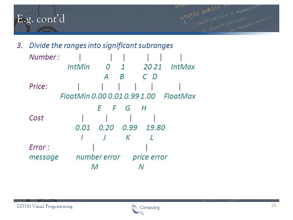 CO331 Visual Programming E.g.