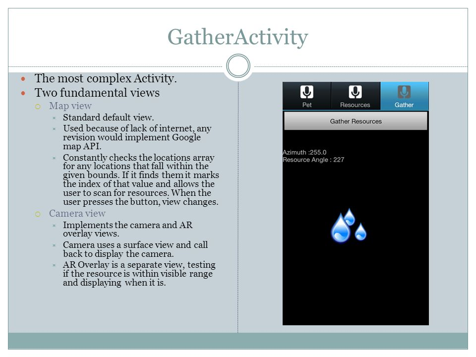 GatherActivity The most complex Activity. Two fundamental views  Map view  Standard default view.