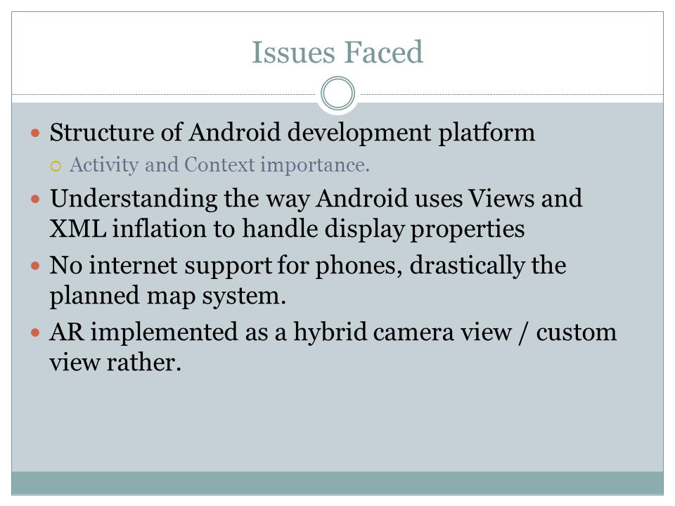 Issues Faced Structure of Android development platform  Activity and Context importance.