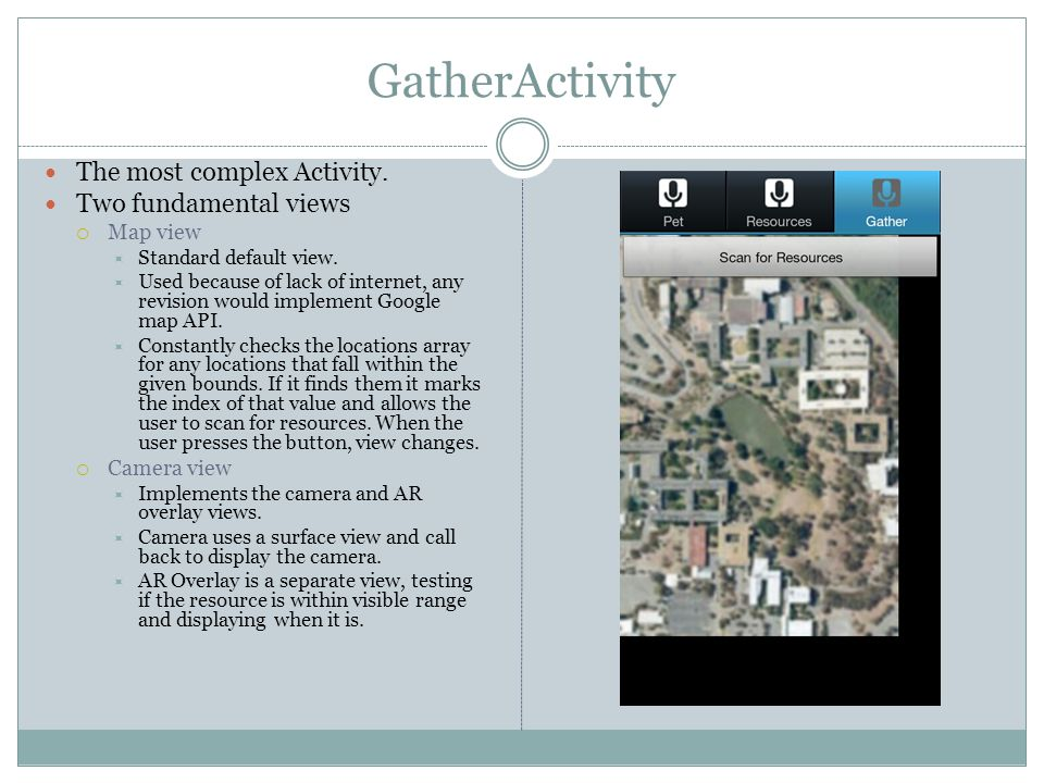 GatherActivity The most complex Activity. Two fundamental views  Map view  Standard default view.