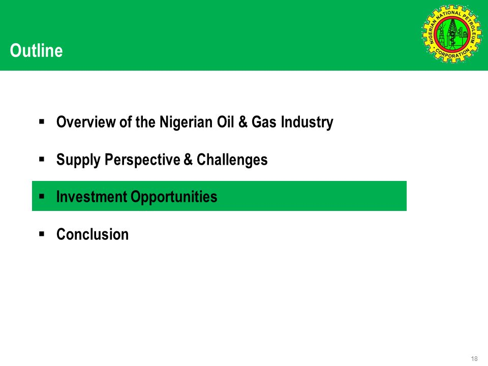 Outline  Overview of the Nigerian Oil & Gas Industry  Supply Perspective & Challenges  Investment Opportunities  Conclusion 18