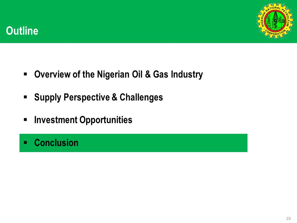 Outline  Overview of the Nigerian Oil & Gas Industry  Supply Perspective & Challenges  Investment Opportunities  Conclusion 20