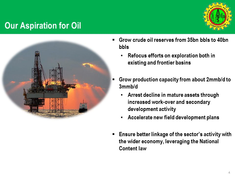 Our Aspiration for Oil 4  Grow crude oil reserves from 35bn bbls to 40bn bbls Refocus efforts on exploration both in existing and frontier basins  Grow production capacity from about 2mmb/d to 3mmb/d Arrest decline in mature assets through increased work-over and secondary development activity Accelerate new field development plans  Ensure better linkage of the sector's activity with the wider economy, leveraging the National Content law