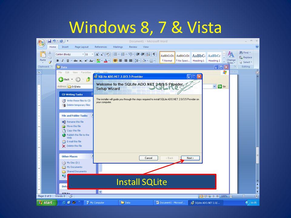 Windows 8, 7 & Vista Install SQLite