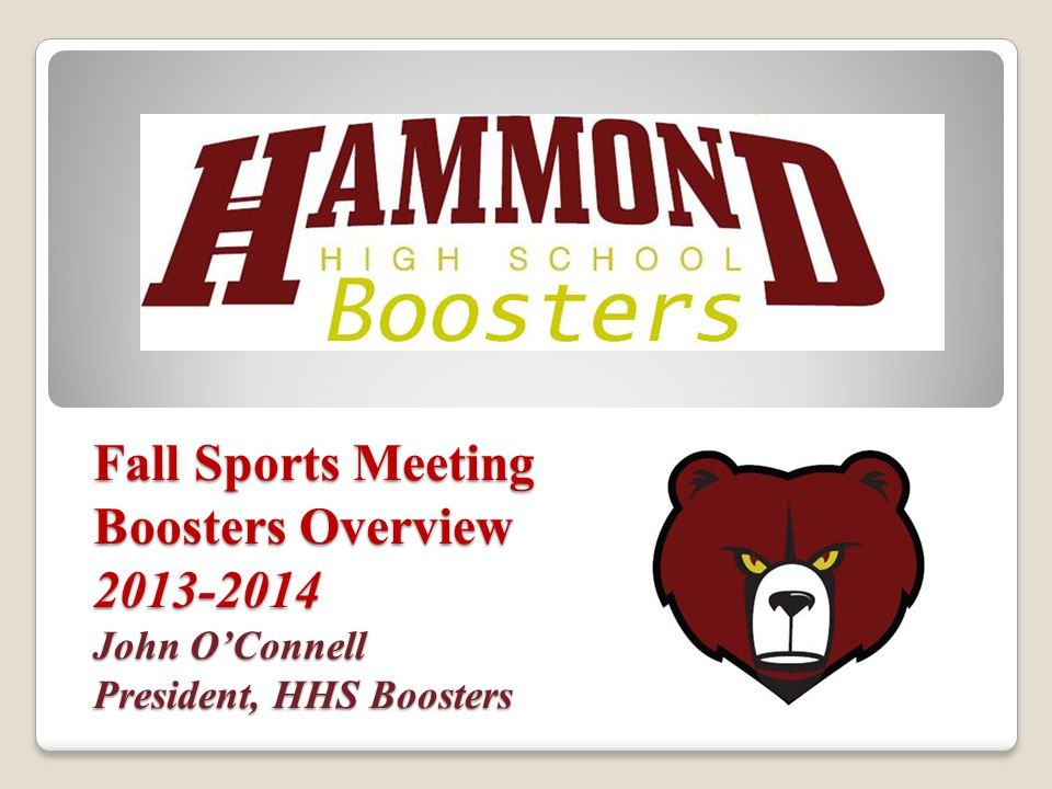 Boosters...Mission, Scope and Objectives Enable/Support Extracurricular Activities ◦ Athletics ◦ Clubs / Classes ◦ Performing Arts What We Do ◦ Fundraising ◦ Community Building / Spirit ◦ Event Support (i.e., concessions) Other Booster Groups ◦ Activity specific costs (e.g., performance trips, uniforms) Hammond High School Boosters is an organized group of volunteers that promotes school spirit and pride by supplementing funding of Hammond's extra-curricular activities through partnerships with the school Administration, Club Sponsors, Coaches, Student Support Groups, and local businesses.