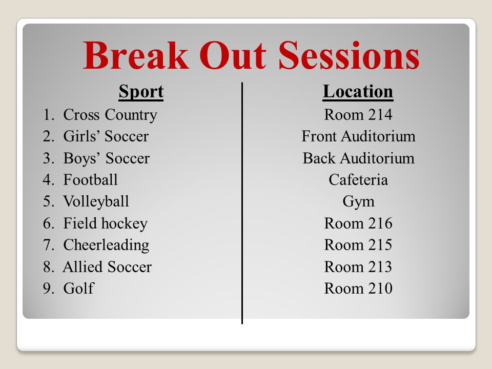 Break Out Sessions Sport 1. Cross Country 2. Girls' Soccer 3.