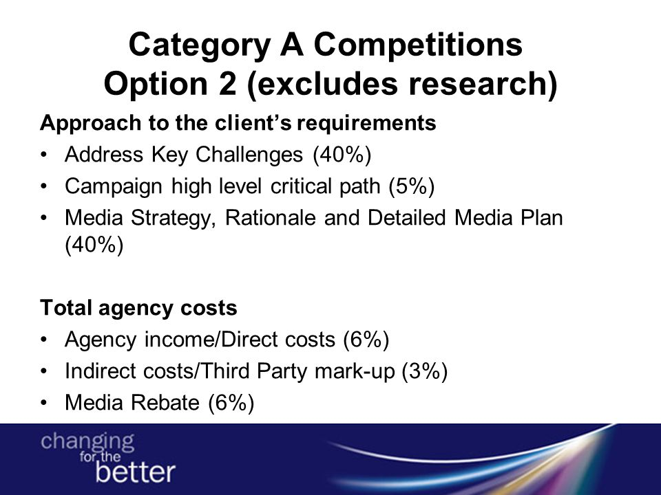 Category A Competitions Option 2 (excludes research) Approach to the client's requirements Address Key Challenges (40%) Campaign high level critical path (5%) Media Strategy, Rationale and Detailed Media Plan (40%) Total agency costs Agency income/Direct costs (6%) Indirect costs/Third Party mark-up (3%) Media Rebate (6%)