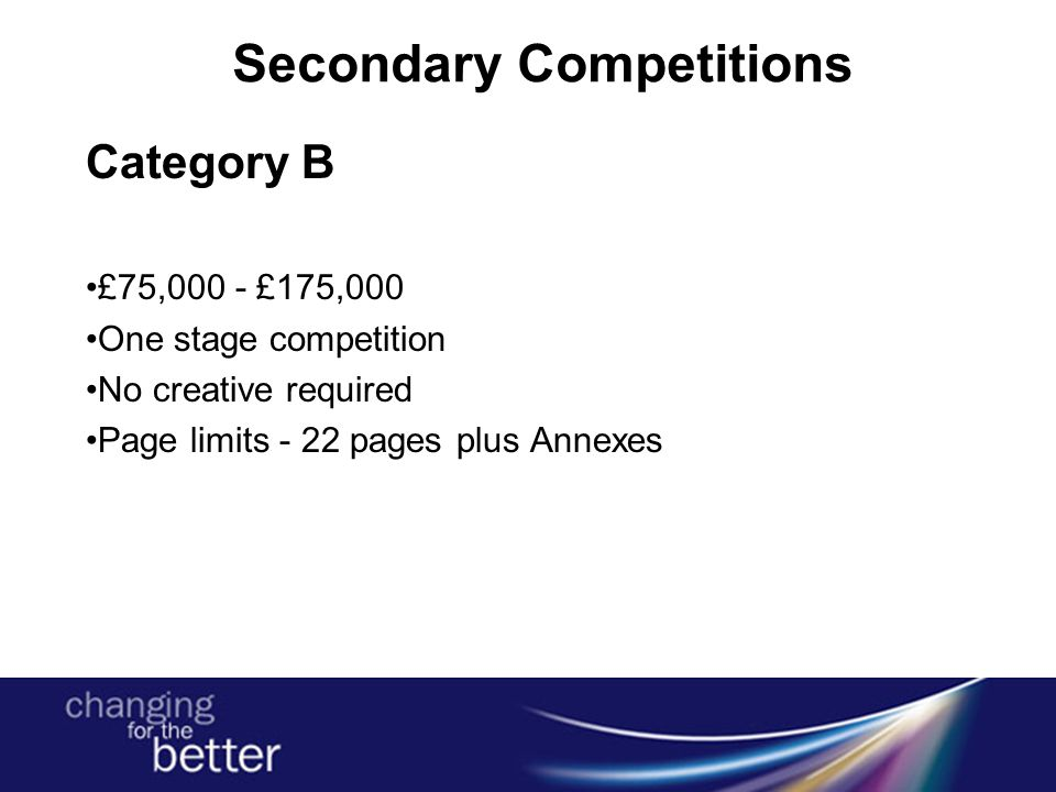 Secondary Competitions Category B £75,000 - £175,000 One stage competition No creative required Page limits - 22 pages plus Annexes