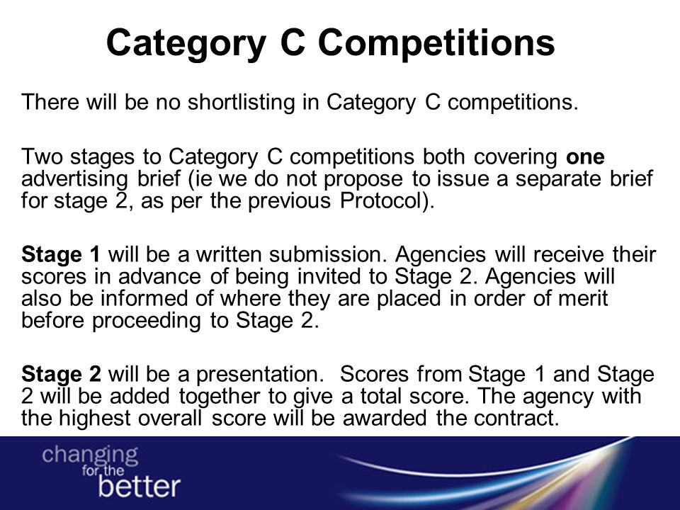 Category C Competitions There will be no shortlisting in Category C competitions. Two stages to Category C competitions both covering one advertising