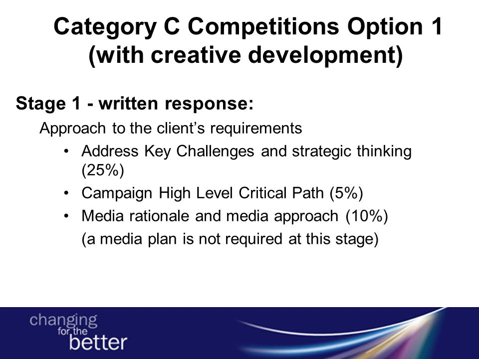Category C Competitions Option 1 (with creative development) Stage 1 - written response: Approach to the client's requirements Address Key Challenges and strategic thinking (25%) Campaign High Level Critical Path (5%) Media rationale and media approach (10%) (a media plan is not required at this stage)