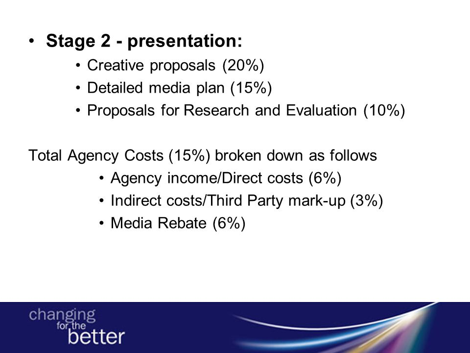 Stage 2 - presentation: Creative proposals (20%) Detailed media plan (15%) Proposals for Research and Evaluation (10%) Total Agency Costs (15%) broken