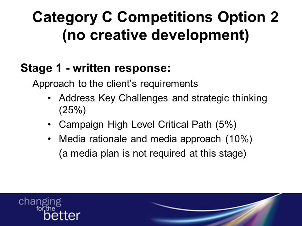 Category C Competitions Option 2 (no creative development) Stage 1 - written response: Approach to the client's requirements Address Key Challenges an