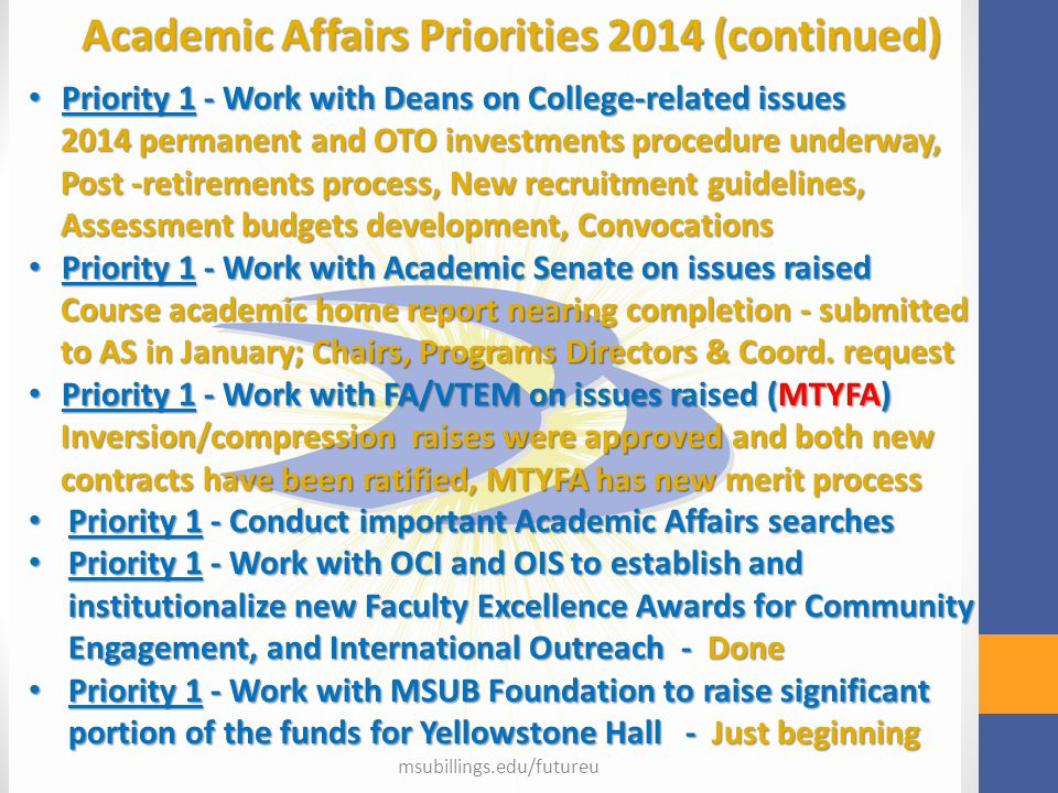 msubillings.edu/futureu Academic Affairs Priorities 2014 (continued) Priority 1 - Work with Deans on College-related issues Priority 1 - Work with Dea