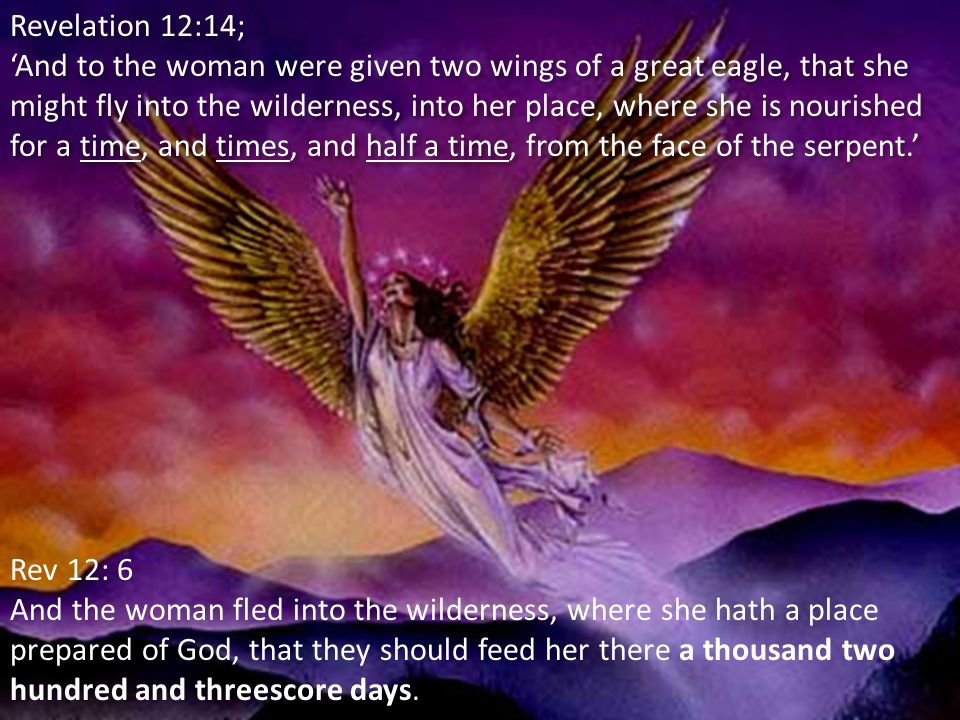 Revelation 12:14; 'And to the woman were given two wings of a great eagle, that she might fly into the wilderness, into her place, where she is nourished for a time, and times, and half a time, from the face of the serpent.' Revelation 12:14; 'And to the woman were given two wings of a great eagle, that she might fly into the wilderness, into her place, where she is nourished for a time, and times, and half a time, from the face of the serpent.' Rev 12: 6 And the woman fled into the wilderness, where she hath a place prepared of God, that they should feed her there a thousand two hundred and threescore days.